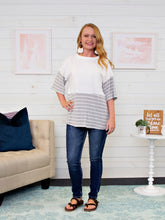 White and Gray Striped Tee