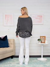 Laser Cutout Swing Sweater - Charcoal