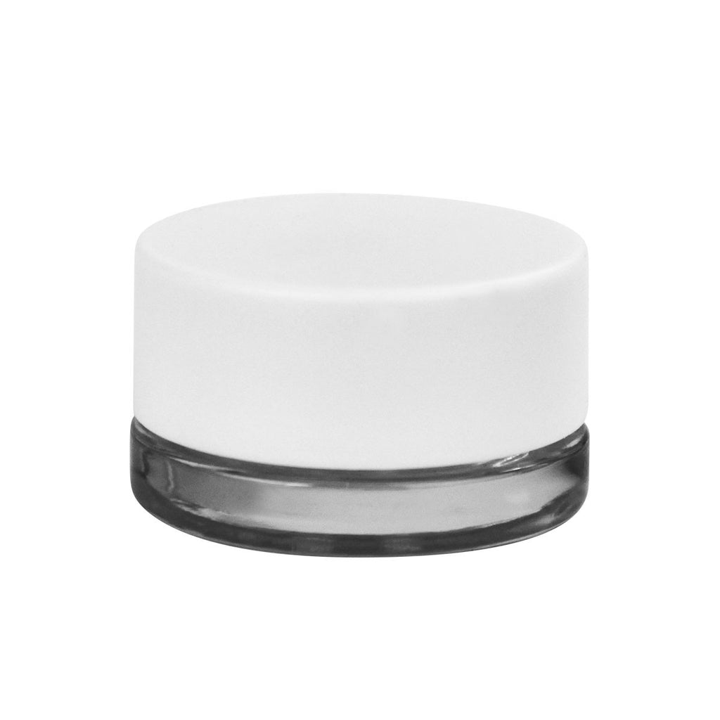 Child Resistant Thick Wall Glass Concentrate Container 9ML Matte White Cap