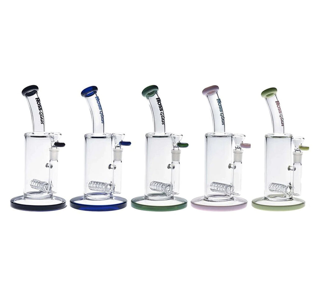 "Hoss Glass 9"" Tube Grid Perc Bubbler w/ Colour Accents"