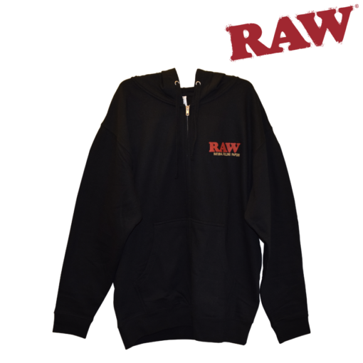 Raw Zipper Hoodie with Drawstring