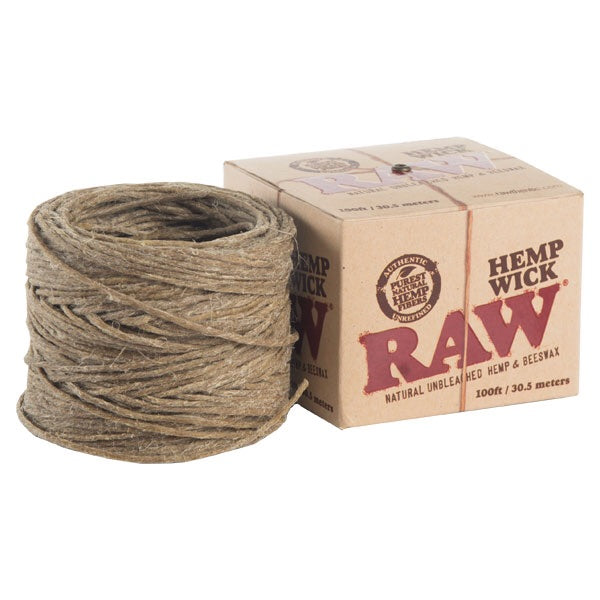 RAW Natural Unbleached Hemp & Beeswax Hemp Wick 100 Feet Spool Roll - Honeypot International inc.