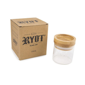 RYOT Glass Jar w/ wood Tray Lid - Honeypot International inc.