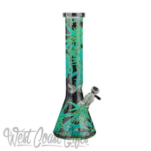 "Red Eye Glass 15"" Tall Leaf Beaker Tuber W/Full Wrap Decal - Honeypot International inc."
