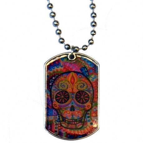 Day of the Dead Epoxy Dogtag Necklace in Multi Colour - Honeypot International inc.