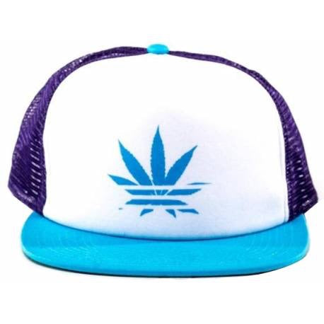 No Bad Ideas - Kali - Trucker Hat Blue/Purple Leaf - Honeypot International inc.