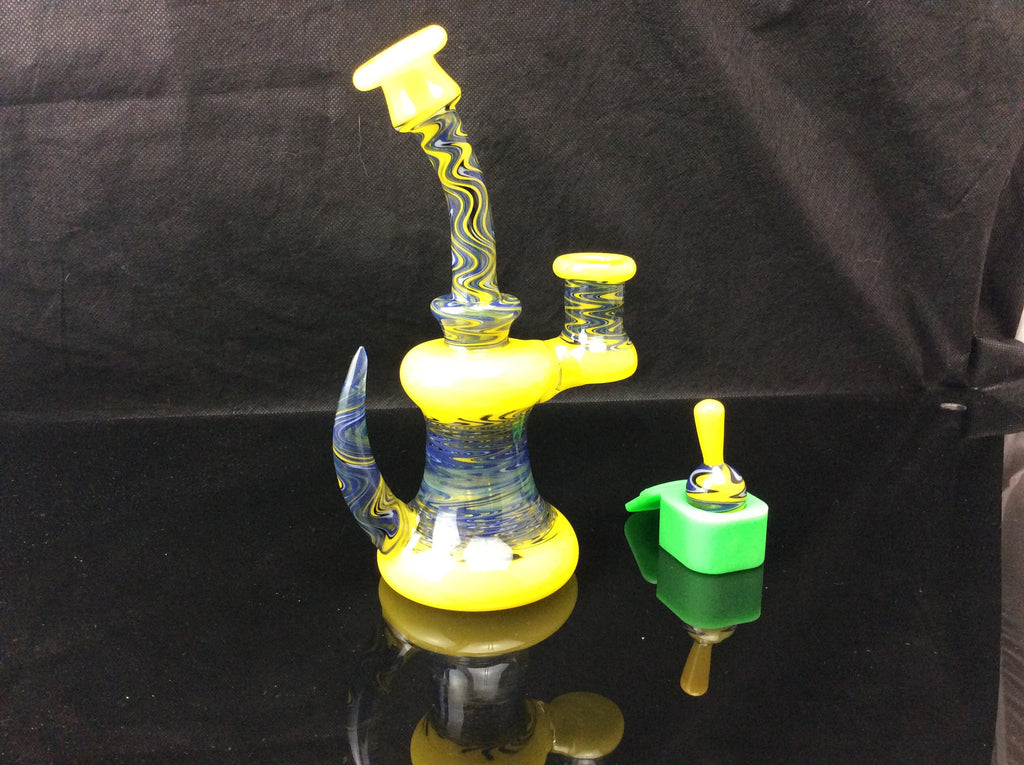 Al gore glass full worked yellow/blue wig wag banger hanger rig - Honeypot International inc.