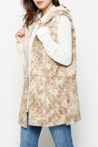 Seam Out Hooded Faux Fur Vest (Reversible)