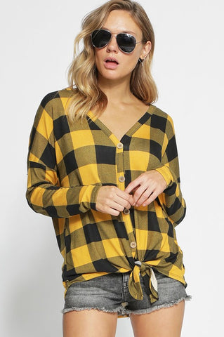 LONG SLEEVE CHECKERED HACCI BUTTONED FRONT TOP