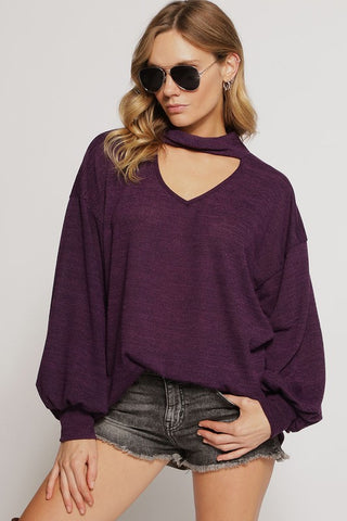SWEATER KNIT TOP WITH PUFF SLEEVES WITH CUFFS