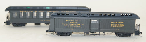 Hon3 N.J. Custom Brass Two Car San Juan Set, Alamosa and Baggage Car # 164