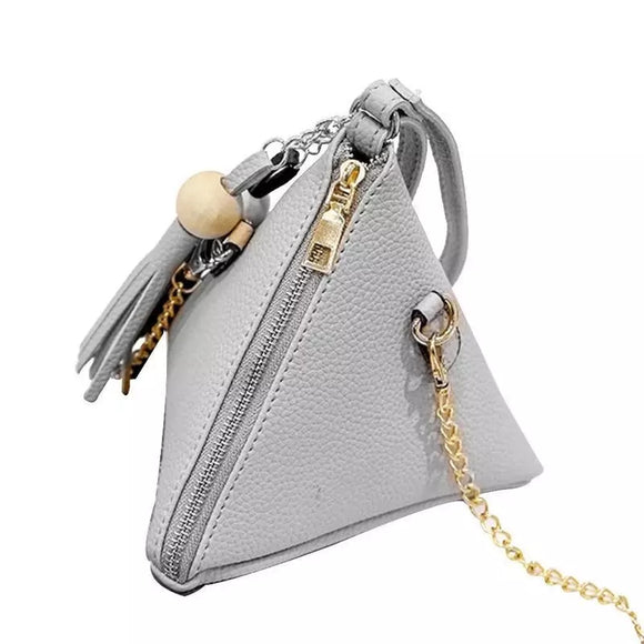 Gray Leather Wristlet Clutch
