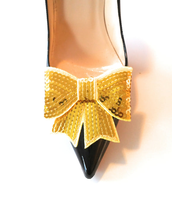 Yellow Sequin Shoe Clips, Yellow Sequin Bows, Yellow Bows, Sequin Shoe Clips, Shoe Clips, Shoe Clips Wedding, Bow Shoe Clips, Bridal Shoe Clips, Shoe Clips for Wedding, Formal Shoe Clips, Sequin Bows