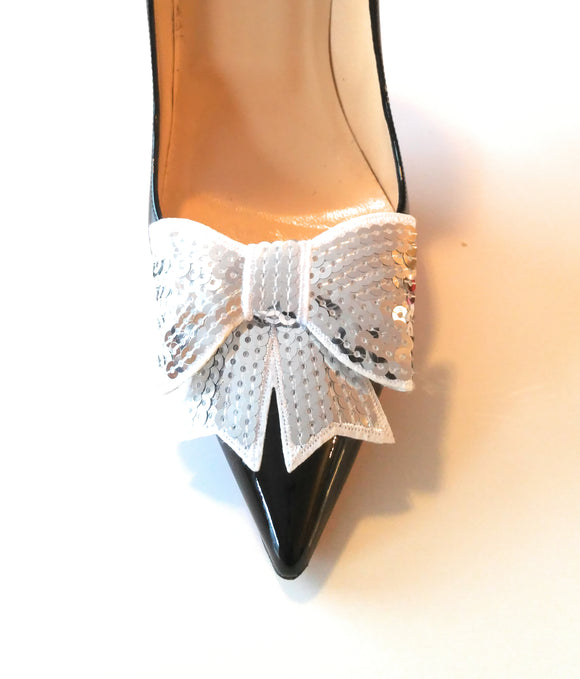 White Sequin Shoe Clips, White Shoe Clips, White Shoe Bows, Sequin Shoe Clips, White Bows, White Sequin, Bridal Shoe Clips, Womens Shoe Clips, Clips for Bridal Shoes, Clips for Wedding Shoes, Clips for Formal Shoes, Wedding Accessories, Bridal Accessories, Formal Accessories, Shoe Charms, Bridal Shoe Accessories, Shoe Bows, Shoe Bow Clips