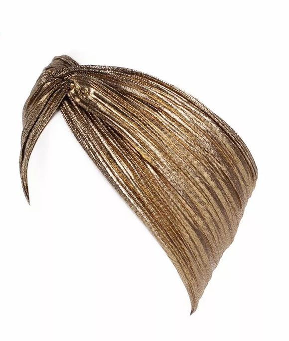 Gold Metallic Headband, Gold Turban Headwrap