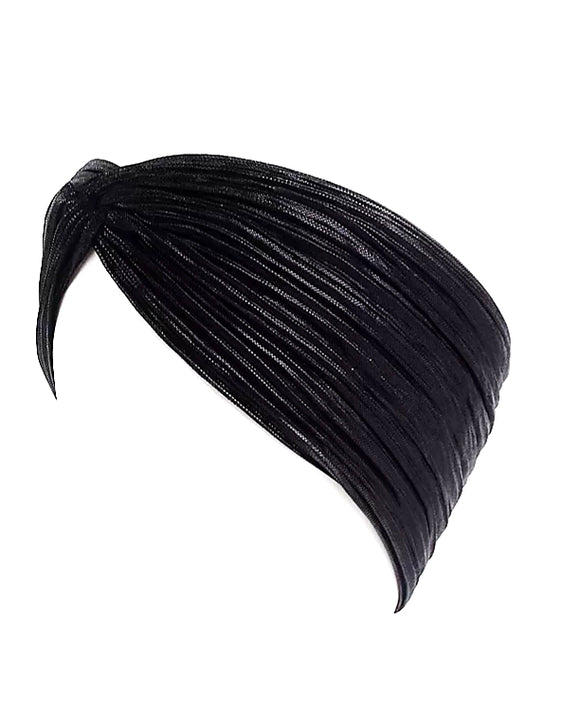 Black Metallic Headband, Black Turban Headwrap