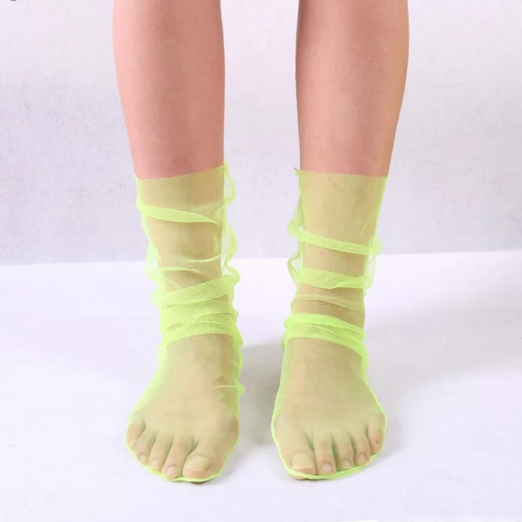 Yellow Neon Socks, Neon Socks, Tulle Socks, Transparent Socks