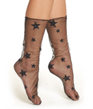 Glitter and Stars Tulle Socks, Sheer Socks, Black Socks