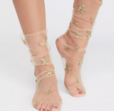 Glitter and Stars Tulle Socks, Sheer Socks, Gold Socks