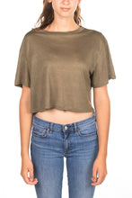 KHAKI CROP TOP SHIRT