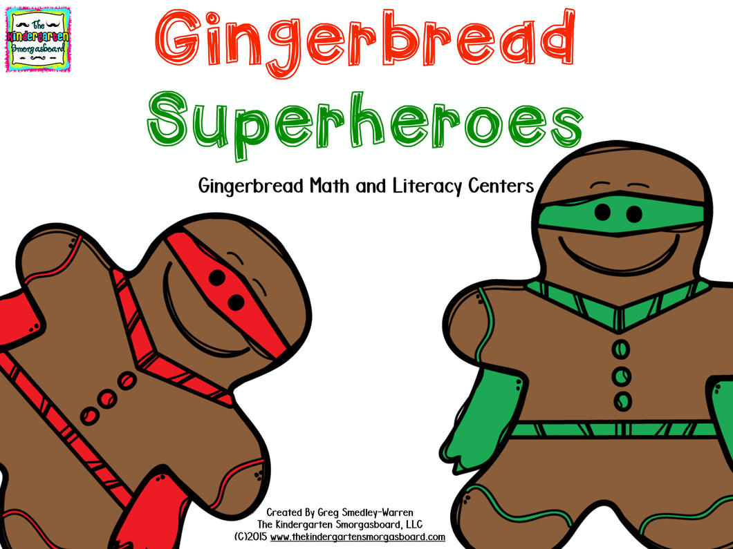 Gingerbread Superheroes Math and Literacy Centers!