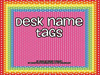 Bright Polka Dot Desk Name Tags FREEBIE!