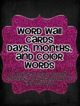 Word Wall Cards For Months, Days and Color Words
