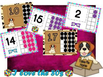 I Love The 80s! Saint Bernards! Ten Frame Number Cards