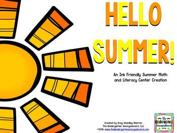 Summer Blackline Math and Literacy Centers