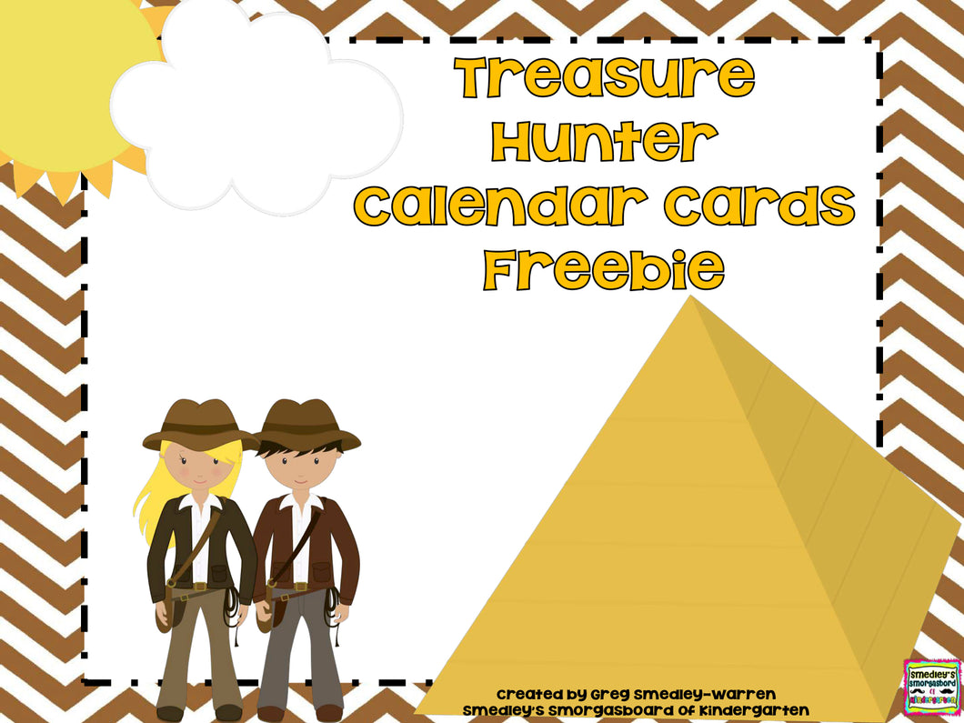 Treasure Hunter Calendar Cards FREEBIE!