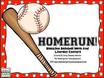Baseball Blackline Math And Literacy Centers!