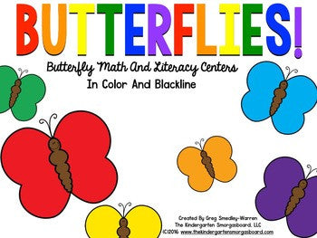 Butterflies! Math And Literacy Centers in Color And Blackline!