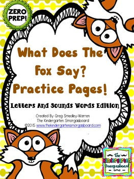Letters And Sounds Zero Prep! What Does The Fox Say Practice Pages