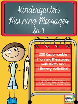 Kindergarten Morning Messages: Set 2