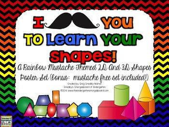 I Mustache You to Learn Your Shapes! Poster Set