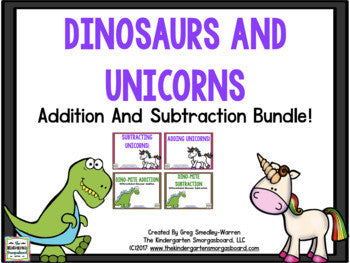Dinosaurs And Unicorns Addition And Subtraction BUNDLE!!