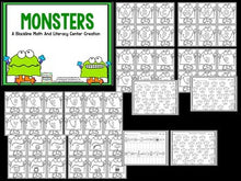 Monsters Blackline Math And Literacy Centers