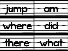 Blackline Sentence Strip Sight Words