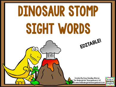 Dinosaur Stomp Editable Sight Words