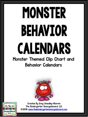 Behavior Calendar and Clip Chart (Monster Theme)