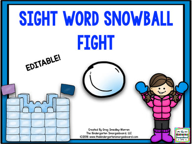 Sight Word Editable Snowball Fight!
