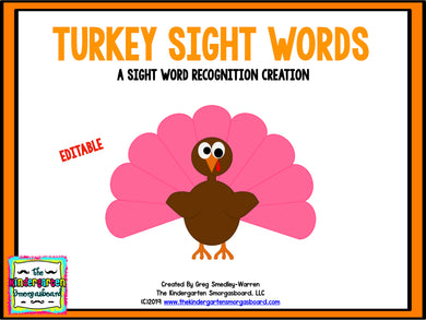 Turkey Sight Words Editable Project