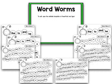 The Word Worm: An Editable Sight Word Recognition Creation