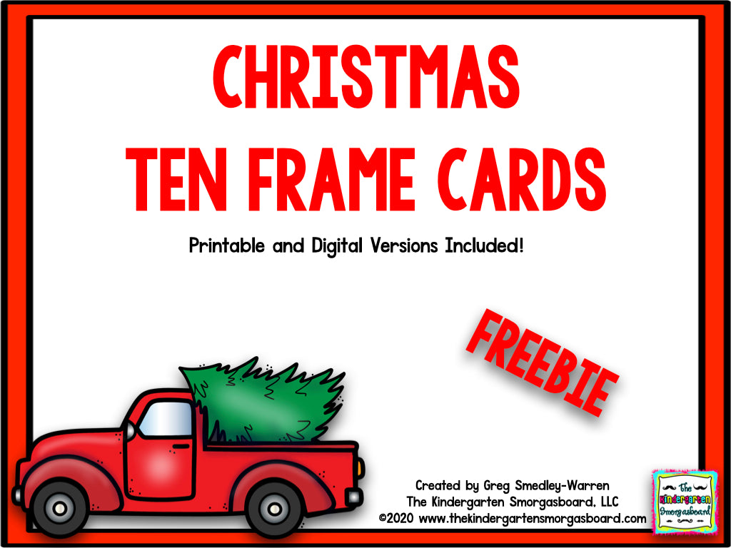 Christmas Ten Frame Cards Freebie