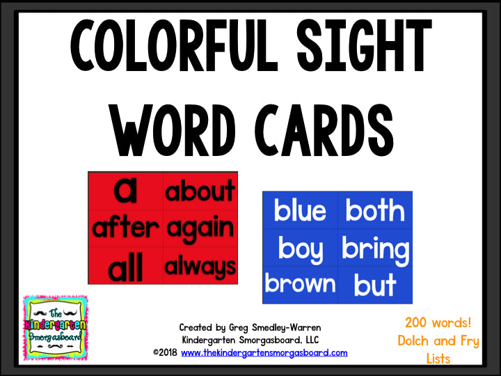 Colorful Sight Word Cards