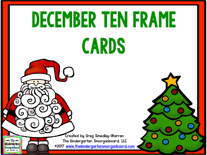 December Ten Frame Cards