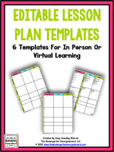Editable Lesson Plan Templates