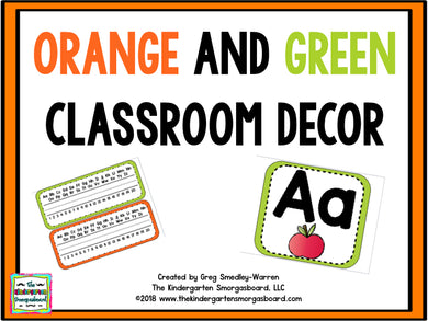 Orange and Green Classroom Decor