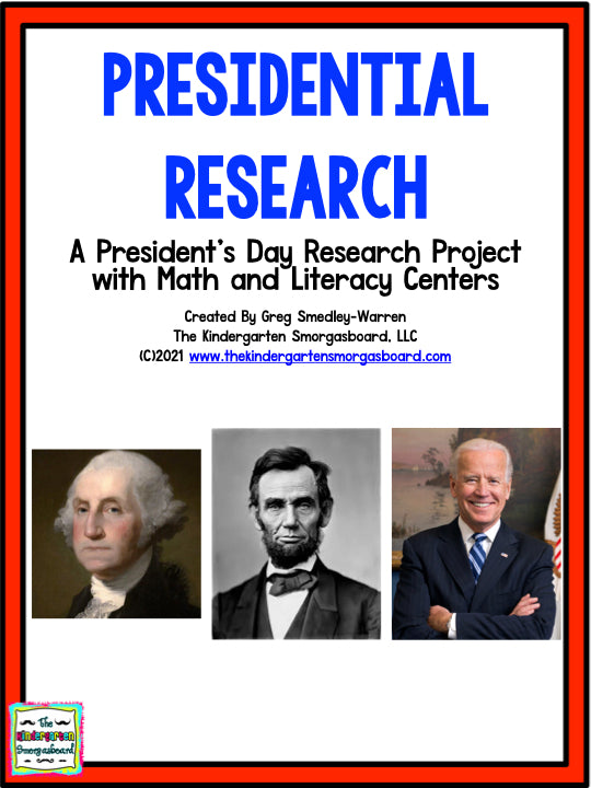 President's Day! A Presidents Research and Writing Project PLUS Centers!
