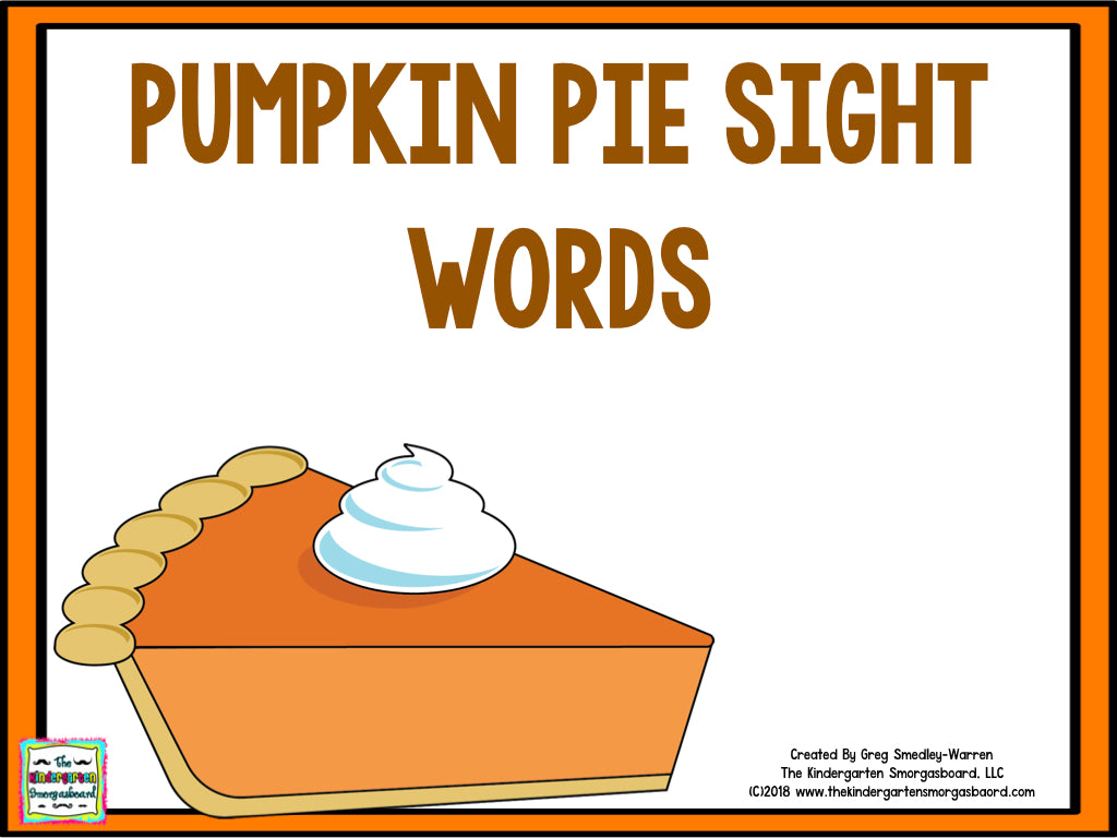 Pumpkin Pie Editable Sight Words
